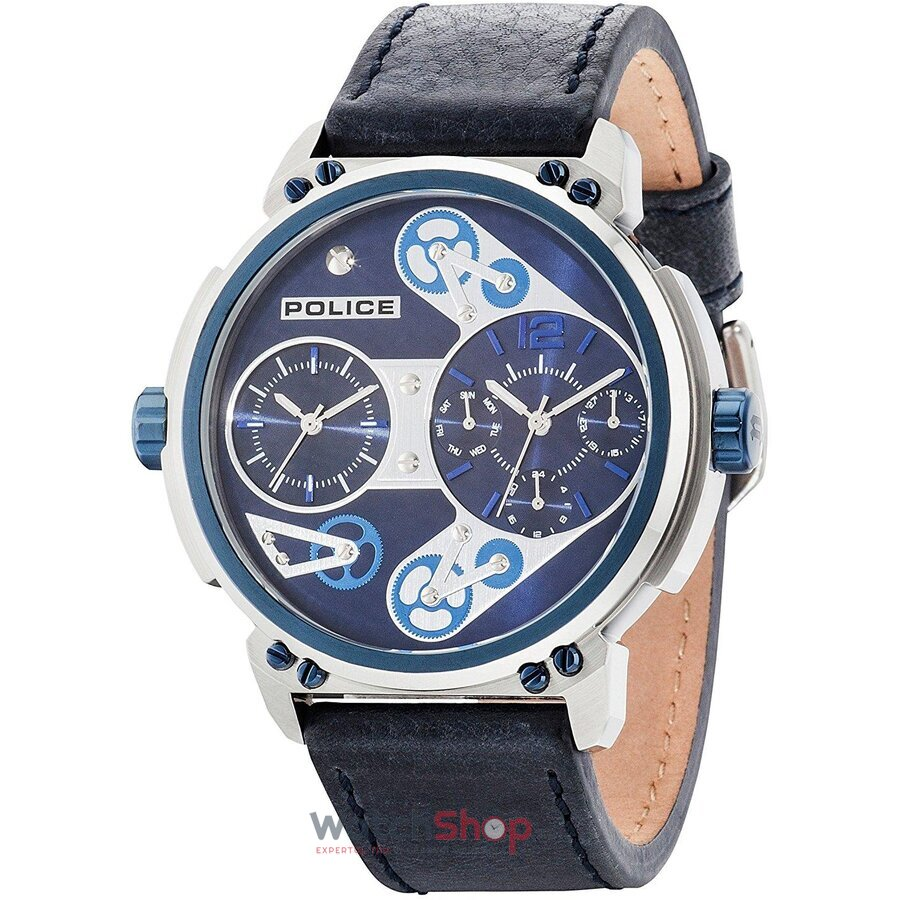 Ceas Police by STEAMPUNK PL.14693JSTBL/03 Dual Time