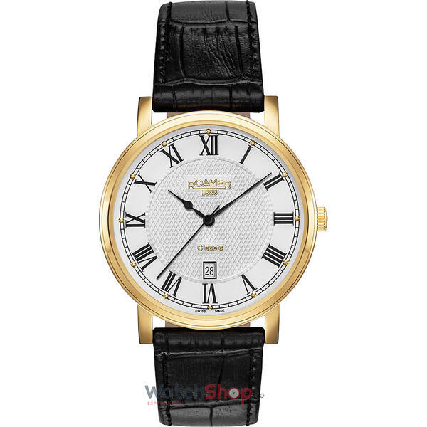 Ceas Roamer Mens C-Line Black Leather Strap 709856 48 22 07