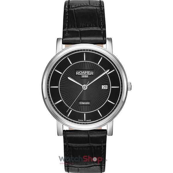 Ceas Roamer Mens C-Line Black Leather Strap 709856 41 57 07