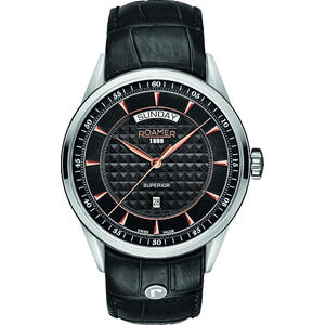 Ceas Roamer Superior Black Leather Strap 508293 49 55 05