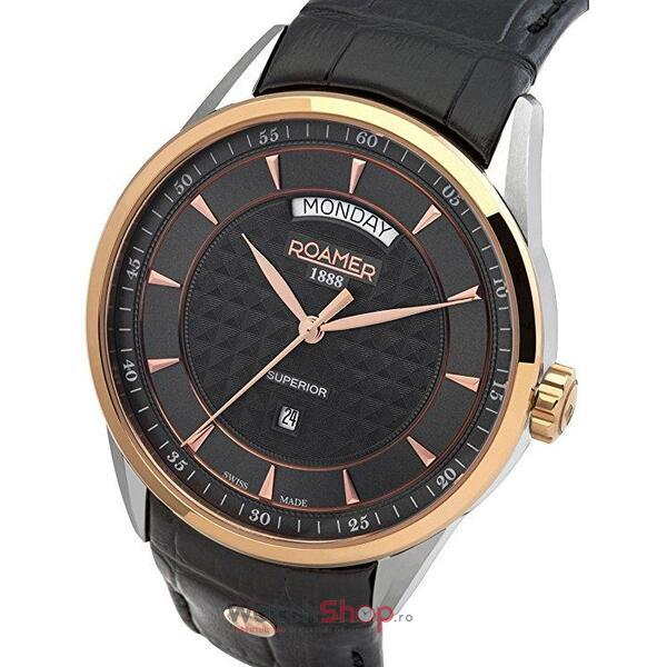 Ceas Roamer Superior Black Leather Strap 508293 49 05 05