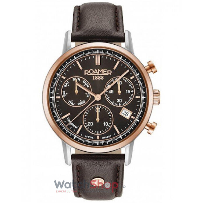 Ceas Roamer Vanguard II Brown Leather Strap 975819 49 55 09 de la Roamer