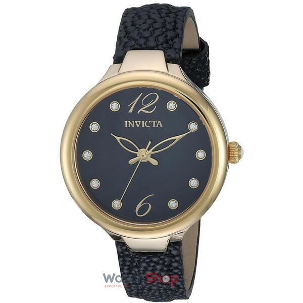 Ceas Invicta Wildflower Ladies Black Leather Strap 24561