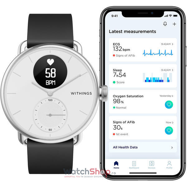 SmartWatch Withings SCANWATCH Hybrid HWA09-model 3-All-Int- 42mm