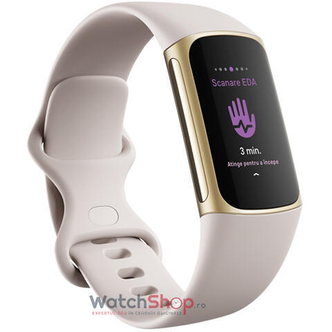 SmartWatch Fitbit Charge 5 Bratara Fitness Lunar White/Soft Gold Stainless Steel