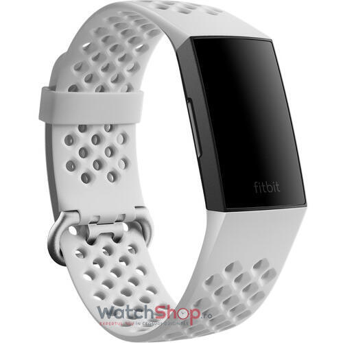 Curea (bratara) ceas Fitbit Charge 4 Sport Band Frost White Small